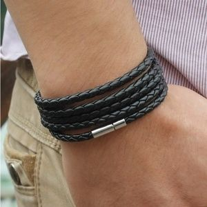 Other - Bolo braided black leather wrap bracelet